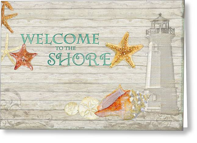 Red Coral Greeting Cards - Refreshing Shores - Welcome to the Shore Lighthouse Greeting Card by Audrey Jeanne Roberts