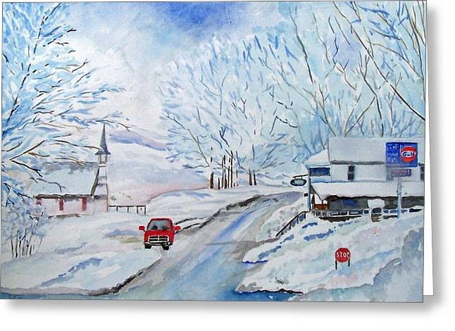 Snowstorm Greeting Cards - Refuge from the Storm Greeting Card by Christine Lathrop