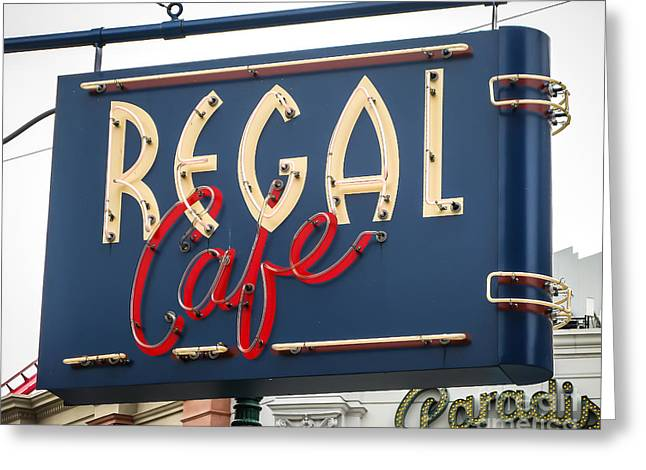 Store Fronts Greeting Cards - Regal Cafe Greeting Card by Perry Webster