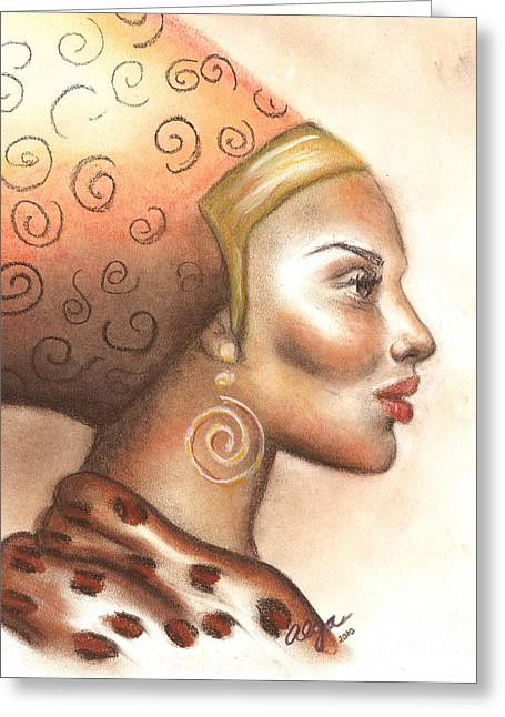 African-americans Pastels Greeting Cards - Regal Lady Profile Greeting Card by Alga Washington