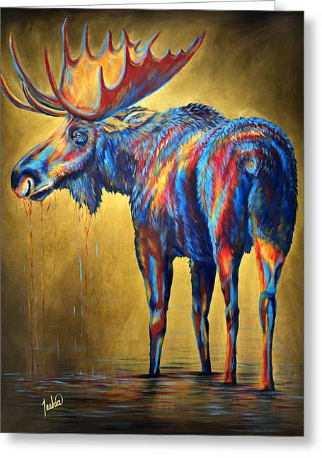 Regal Moose Greeting Card by Teshia Art