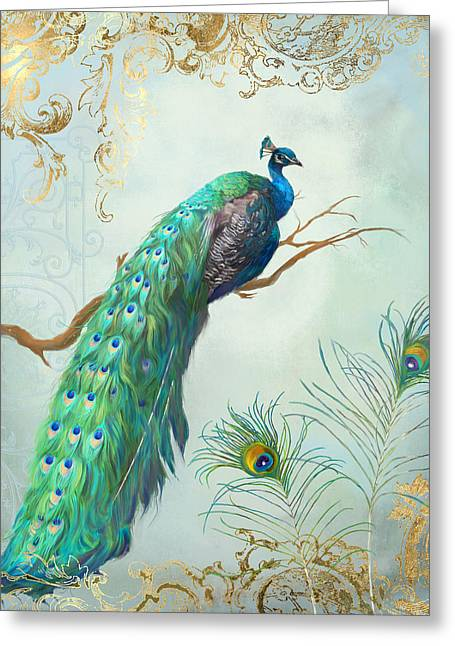Regal Peacock 1 On Tree Branch W Feathers Gold Leaf Greeting Card by Audrey Jeanne Roberts