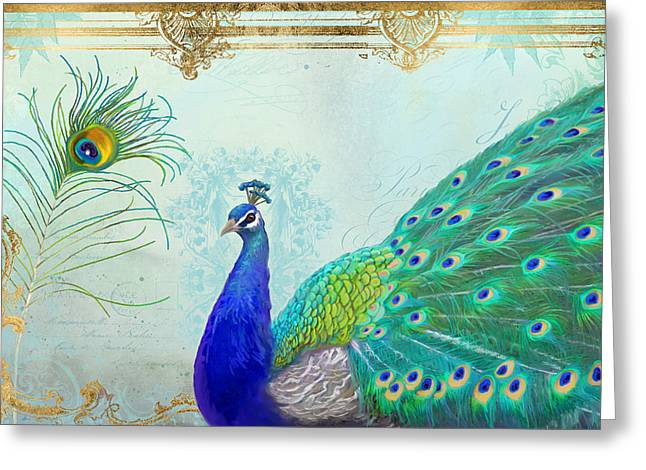 Regal Peacock 2 W Feather N Gold Leaf French Style Greeting Card by Audrey Jeanne Roberts