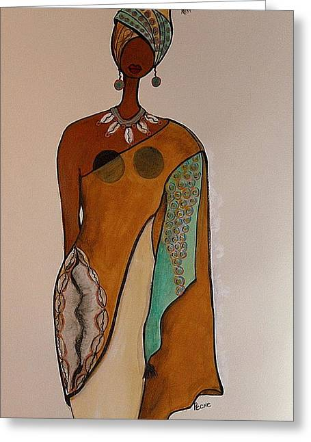 Afrocentric Art Greeting Cards - Regal Greeting Card by Peche Brown