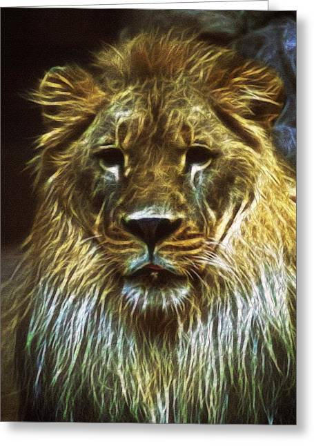 King Of Beast Prints Greeting Cards - Regal Power Greeting Card by Mario Carini