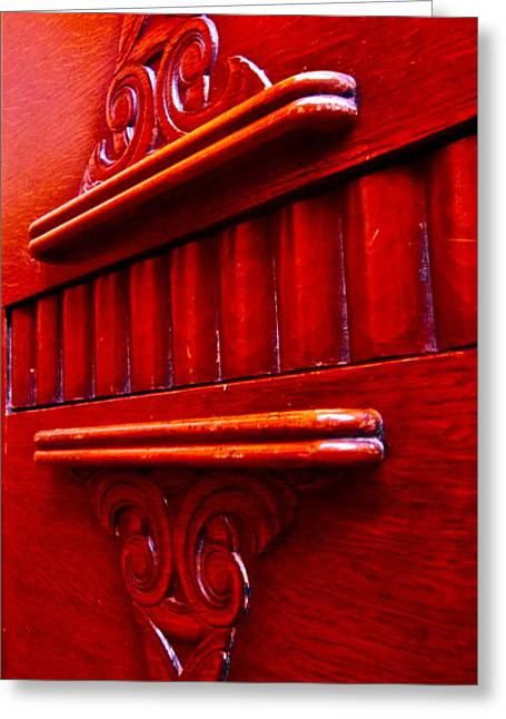 Credenza Greeting Cards - Regally Red Greeting Card by Gwyn Newcombe