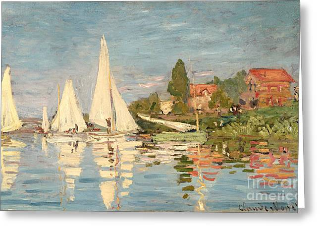 Yacht Greeting Cards - Regatta at Argenteuil Greeting Card by Claude Monet