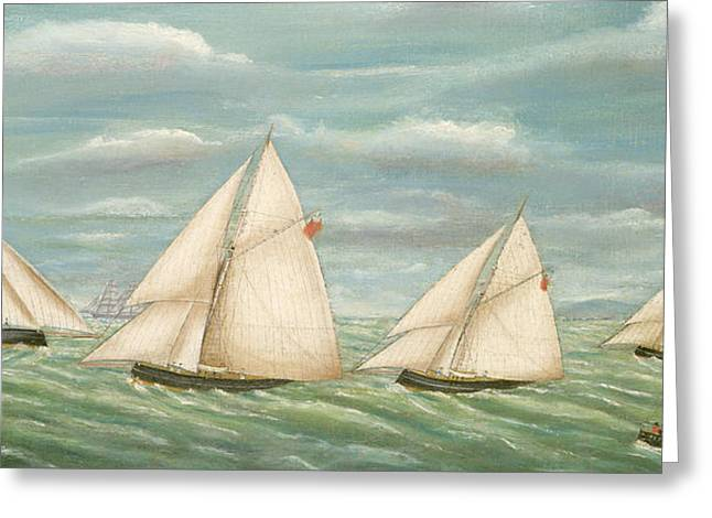 Sailing Ship Greeting Cards - Regatta off the Long Sand Lightship Greeting Card by Unknown