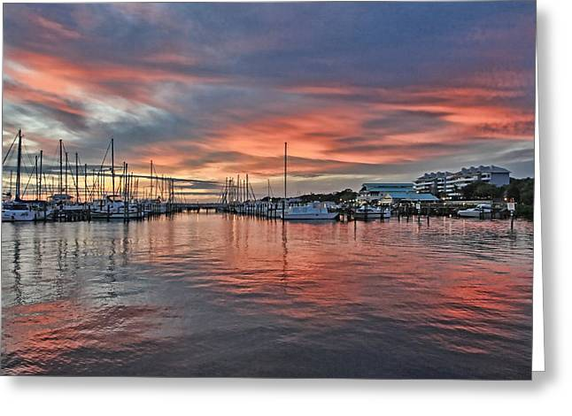 Boats At Dock Greeting Cards - Regatta Point At Sunset Greeting Card by HH Photography of Florida