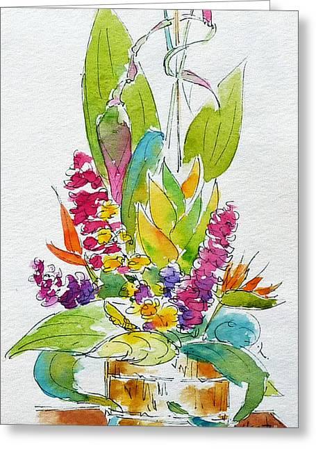 Pat Katz Greeting Cards - Regatta Tropical Floral Greeting Card by Pat Katz