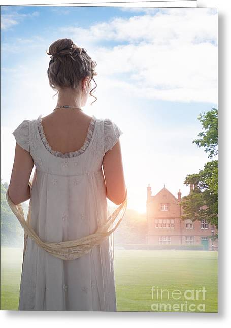 Updo Greeting Cards - Regency Woman At Sunrise Greeting Card by Lee Avison