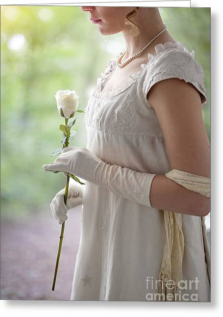 1820-30 Greeting Cards - Regency Woman Holding A Single White Rose Greeting Card by Lee Avison