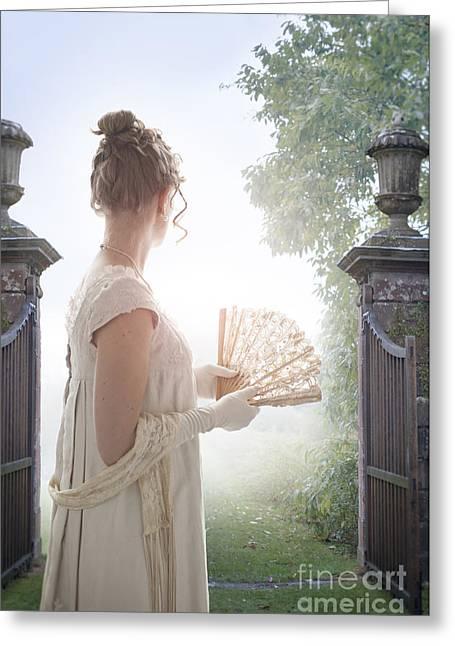 1820-30 Greeting Cards - Regency Woman Looking Through A Gateway Greeting Card by Lee Avison