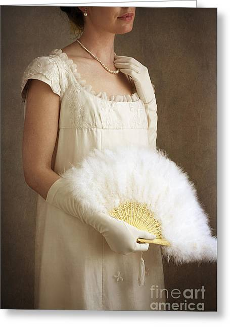 Ostrich Fan Greeting Cards - Regency Woman With Ostrich Feather Fan Greeting Card by Lee Avison