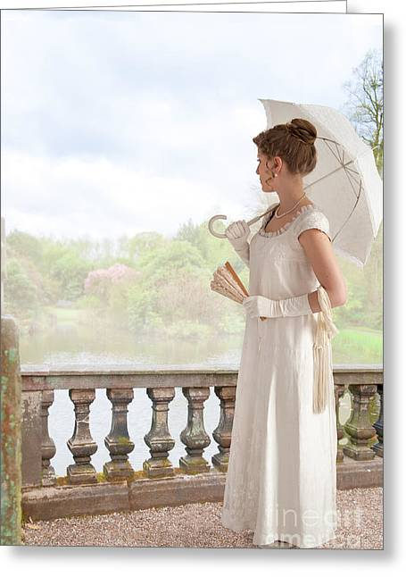 1820-30 Greeting Cards - Regency Woman With Parasol Standing By The Lake Greeting Card by Lee Avison