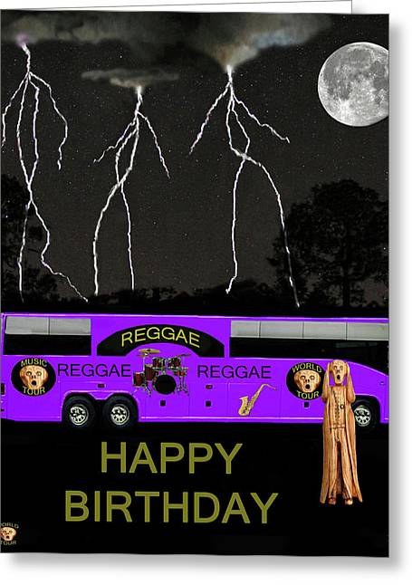 Tour Bus Mixed Media Greeting Cards - Reggae Tour Greeting Card by Eric Kempson