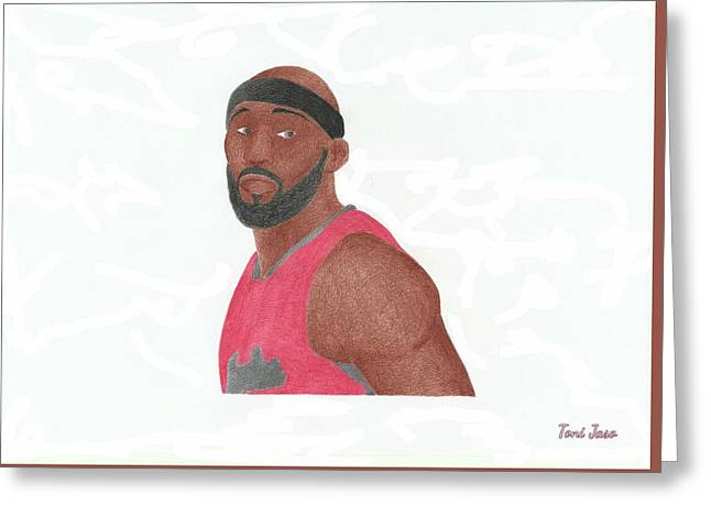 Slam Drawings Greeting Cards - Reggie Evans Greeting Card by Toni Jaso