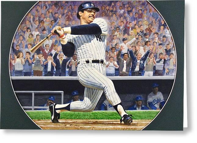 Baseball Game Greeting Cards - Reggie Jackson Greeting Card by Cliff Spohn