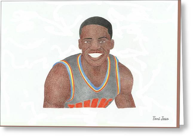Slam Drawings Greeting Cards - Reggie Jackson Greeting Card by Toni Jaso