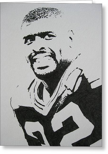 Pro Football Drawings Greeting Cards - Reggie Greeting Card by Lynet McDonald