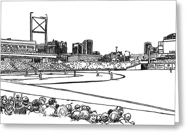 Baseball Fields Drawings Greeting Cards - Regions Field - Black and White Greeting Card by Greg Smith