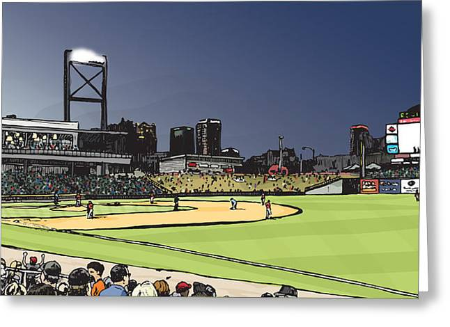 Baseball Fields Drawings Greeting Cards - Regions Field Greeting Card by Greg Smith