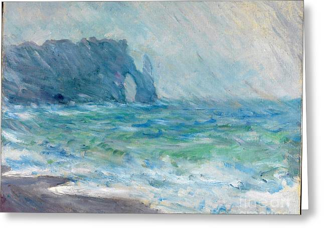 Vintage Painter Greeting Cards - Regnvaer Etretat Greeting Card by Claude Monet