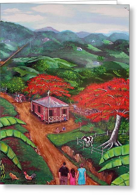 Puerto Rico Paintings Greeting Cards - Regreso al Campo Greeting Card by Luis F Rodriguez