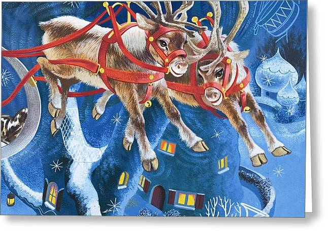 Rudolph Greeting Cards - Reindeer Greeting Card by English School
