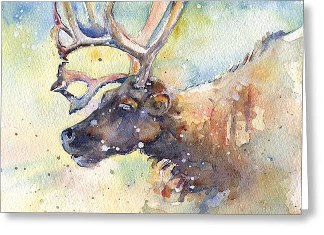 Rudolph Greeting Cards - Reindeer in the Snow Greeting Card by Maria