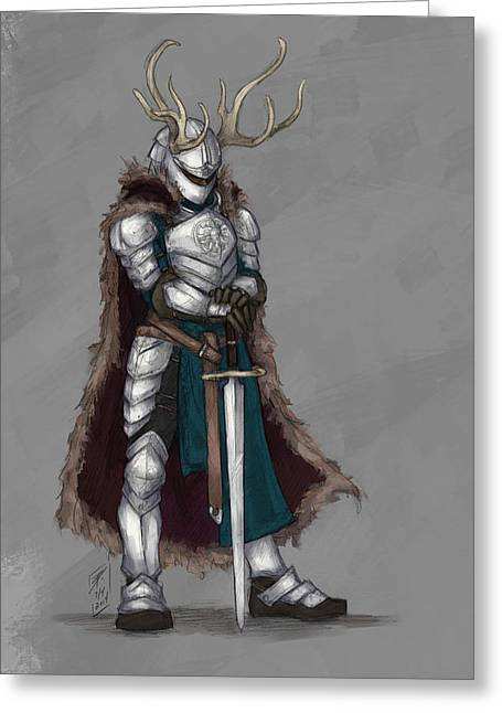 Dungeons Drawings Greeting Cards - Reindeer Knight Greeting Card by Brandy Woods