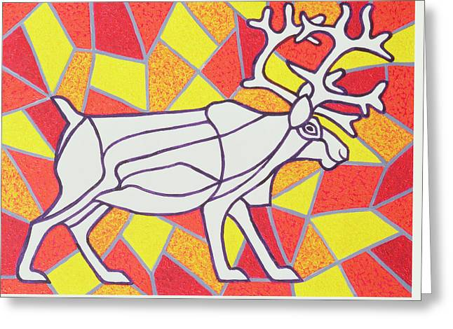 Reindeer On Stained Glass  Greeting Card by Pat Scott