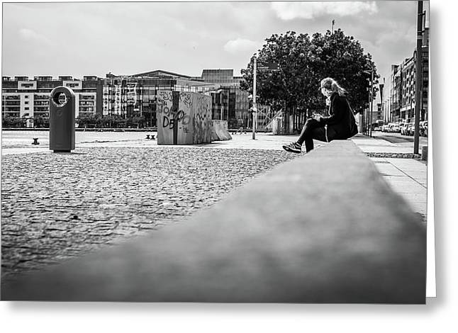 Relax In The City - Dublin, Ireland - Black And White Street Photography Greeting Card by Giuseppe Milo