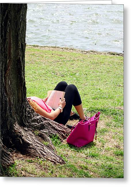 Quiet Read Greeting Cards - Relax on the Potomac Greeting Card by Valentino Visentini