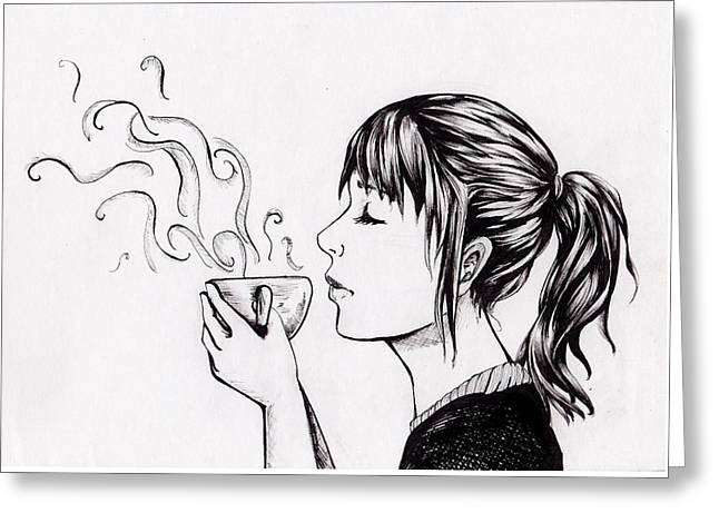 Pen And Ink Drawing Greeting Cards - Relax  Greeting Card by Vickimai