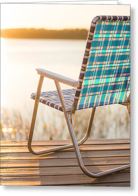 Lawn Chair Greeting Cards - Relaxing at the Lake Greeting Card by Shelby  Young