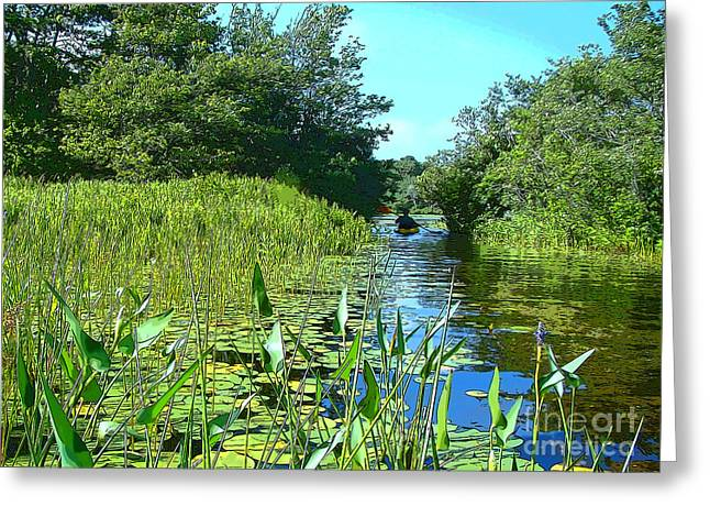 Canoe Greeting Cards - Relaxing Summer Greeting Card by Betsy Zimmerli