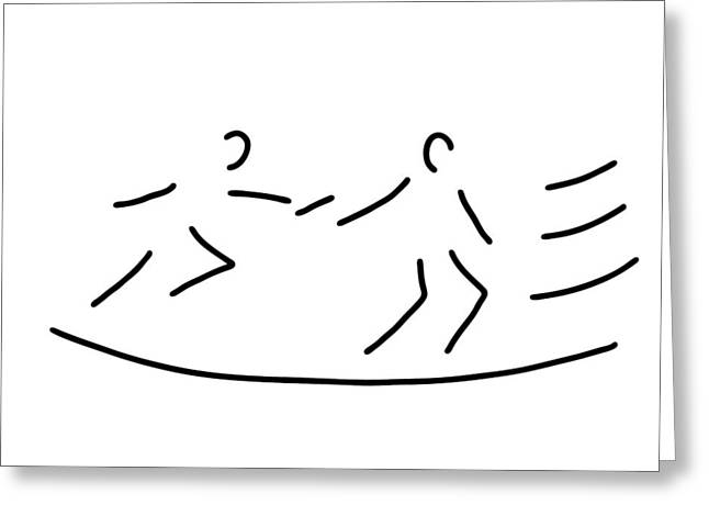 Jogging Drawings Greeting Cards - Relay Race Athletics Stick Greeting Card by Lineamentum