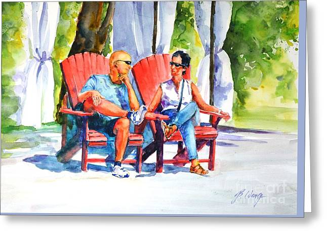 People Paintings Greeting Cards - Relaxing Afternoon Greeting Card by Betty M M   Wong