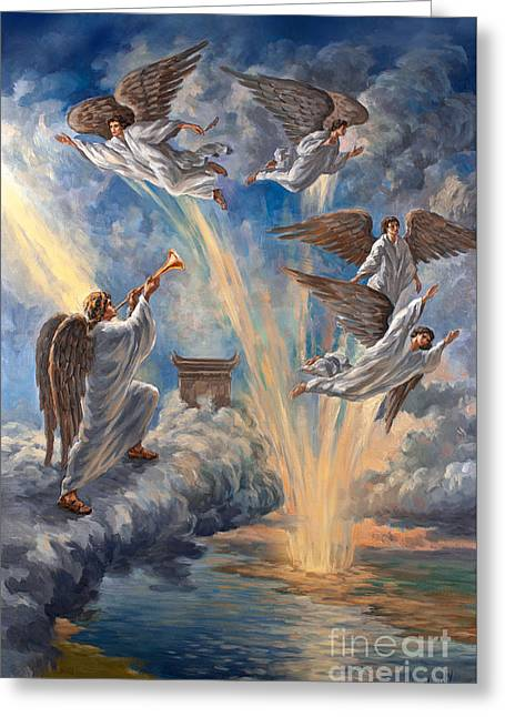 The Leaver Greeting Cards - Original Oil on Canvas Painting Release the Four Angels at the Euphrates River 6th Trumpet Angel  Greeting Card by Vigovsky