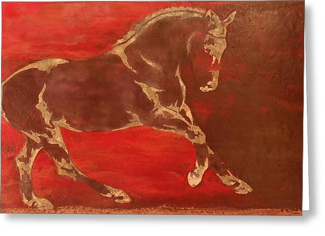 Equine Art Greeting Cards - Releasing Energy Greeting Card by Gabrielle England
