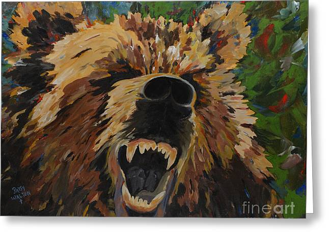 Growling Paintings Greeting Cards - Relentless Greeting Card by Patsy Walton