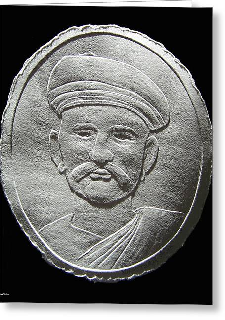 People Reliefs Greeting Cards - Relief Drawing Of Damodar Hari Chafekar Greeting Card by Suhas Tavkar