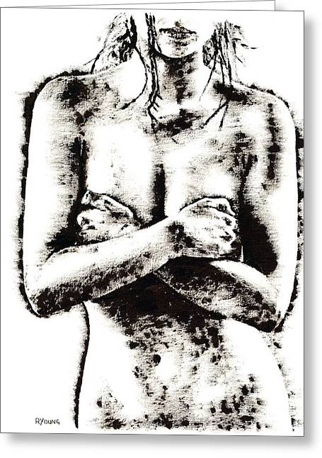 Semi-nude Greeting Cards - Reluctance Greeting Card by Richard Young