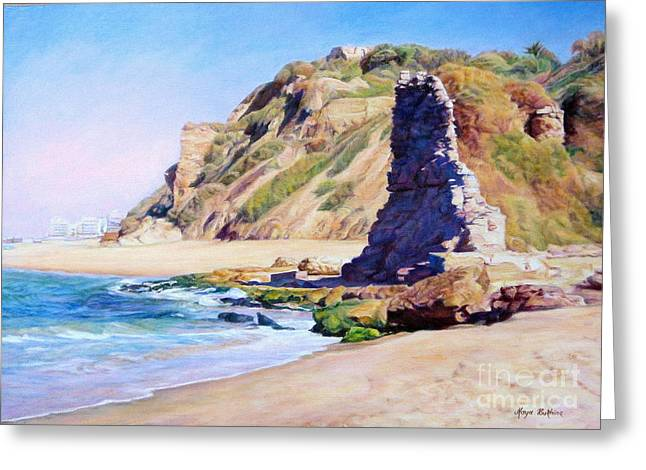 On The Beach Greeting Cards - Remains of ancient constructions on seacoast  Greeting Card by Maya Bukhina