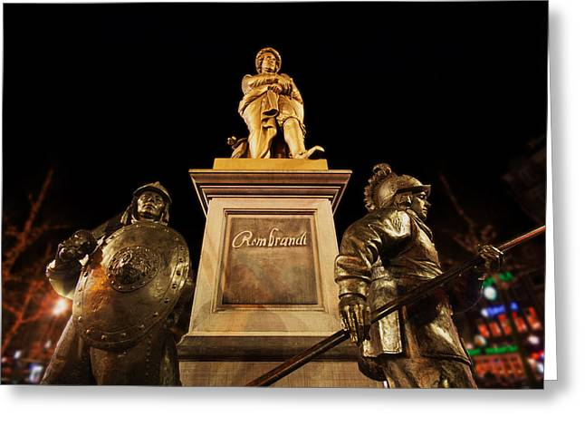 Rembrandt Lighting Greeting Cards - Rembrandt in Amsterdam Greeting Card by Skitterphoto