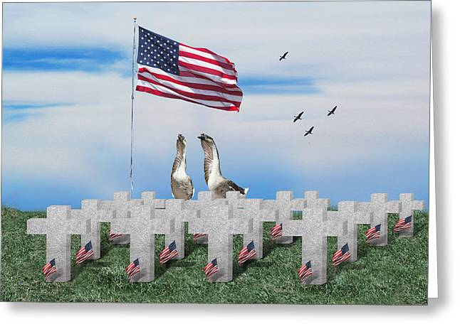 Old Glory Mixed Media Greeting Cards - Remember the Fallen Greeting Card by Gravityx9  Designs