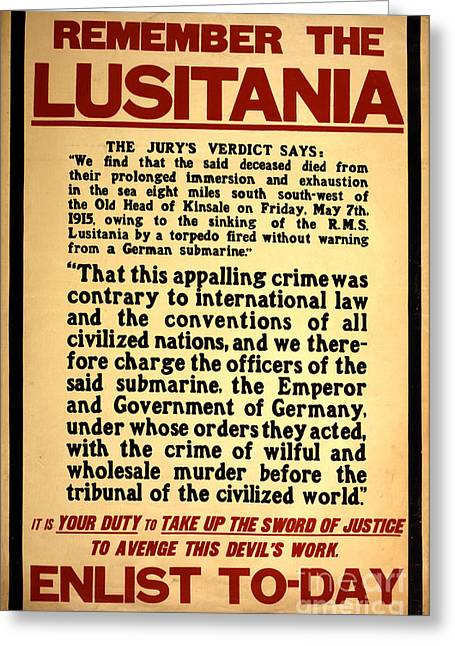 Letterpress Greeting Cards - Remember The Lusitania Wwi Enlistment Greeting Card by Photo Researchers