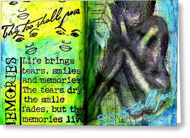 Survivor Art Greeting Cards - Remembering My Son -  Art Journal Entry Greeting Card by Angela L Walker
