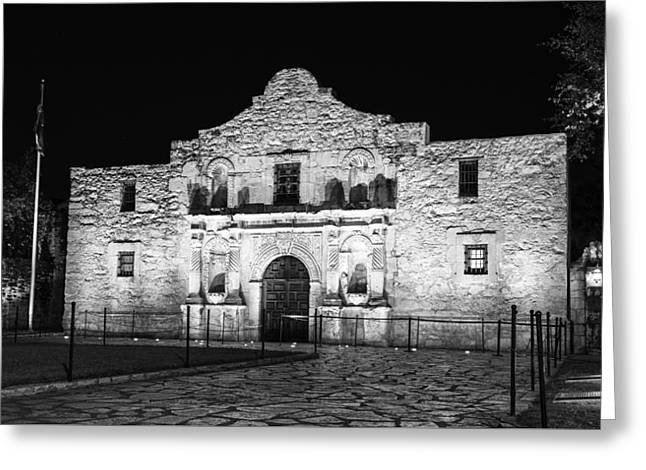 Remembering The Alamo - Black And White Greeting Card by Stephen Stookey